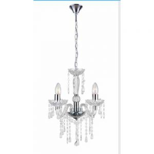 3 Arm Chandelier Clear