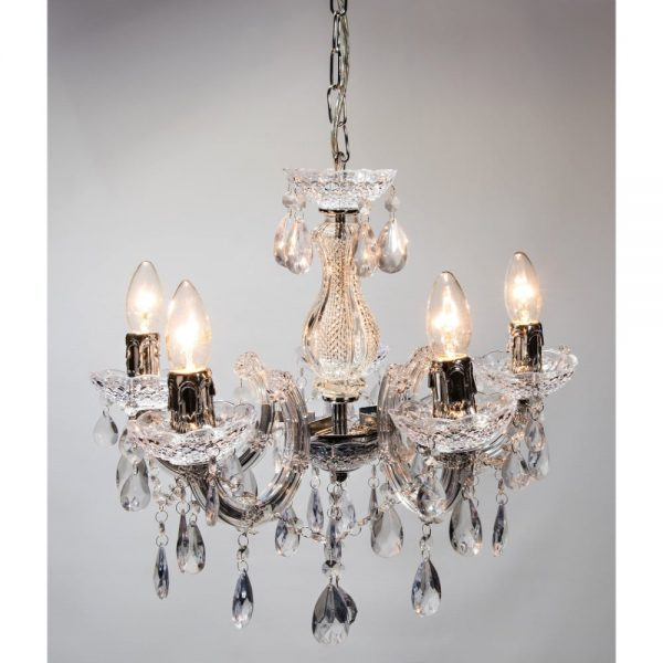 5 Arm Chandelier Clear