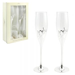 Silver Plated 40th Anniversary Flutes Pair