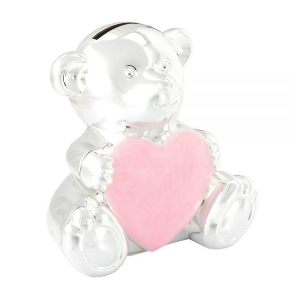 Silverplated Teddy Money Box Pink
