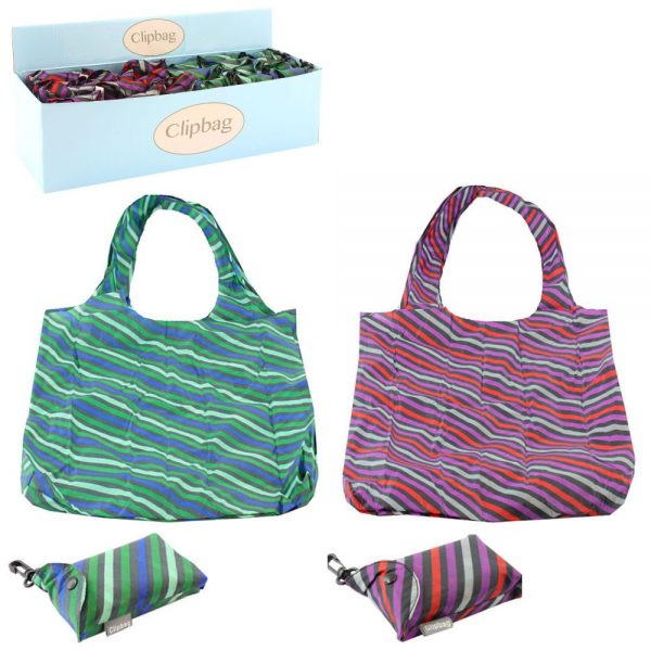 Stripes Folding Clip Bag - Assorted Colours