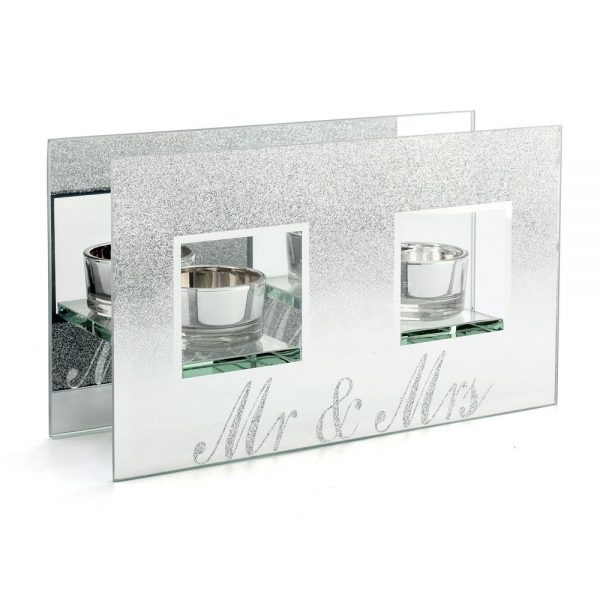 Mr & Mrs Silver Glitter Tealight Double