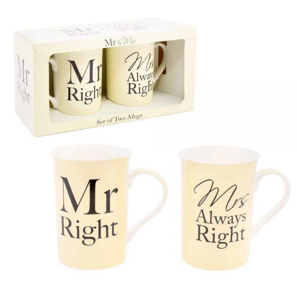 Set of 2 Mugs Mr & Mrs Right