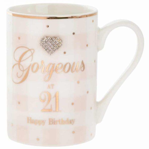 Mad Dots Gorgeous at 21 Happy Birthday Mug