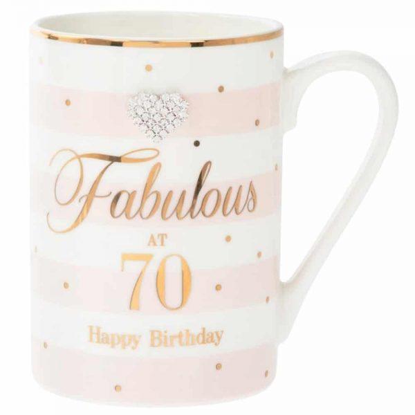 Mad Dots Fabulous at 70 Happy Birthday Mug