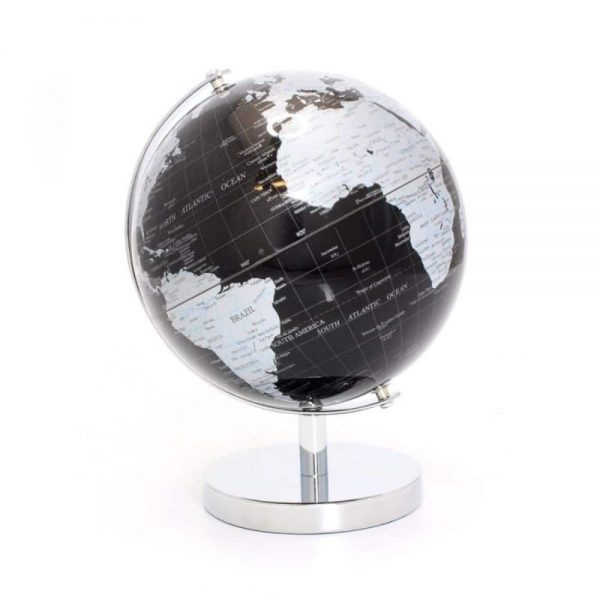 Globe Silver and Black on Base Small 15x19cm