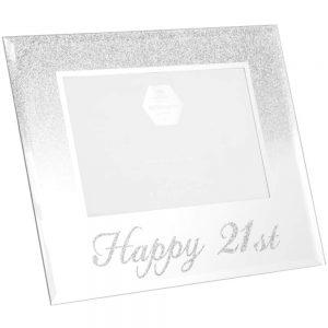 Silver Glitter Happy 21st Frame 4x6in