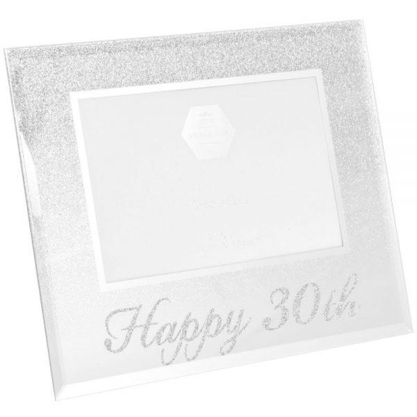 Silver Glitter Happy 30th Frame 4x6in