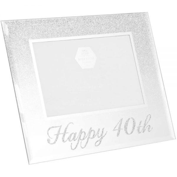 Silver Glitter Happy 40th Frame 4x6in