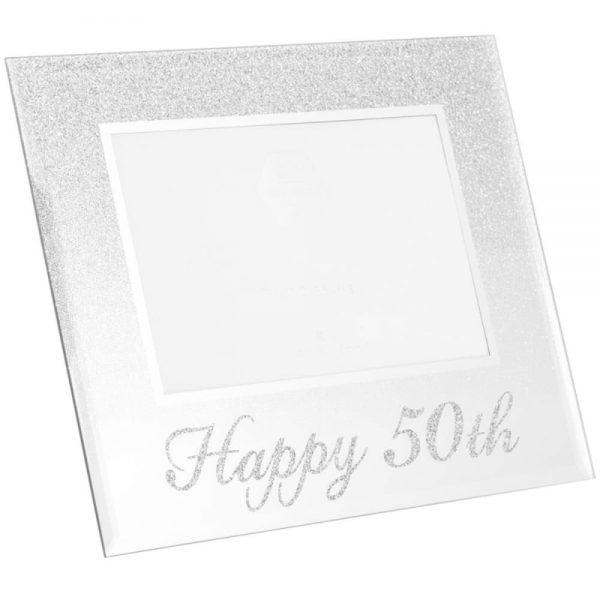 Silver Glitter Happy 50th Frame 4x6in