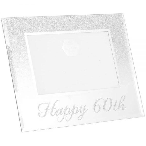 Silver Glitter Happy 60th Frame 4x6in