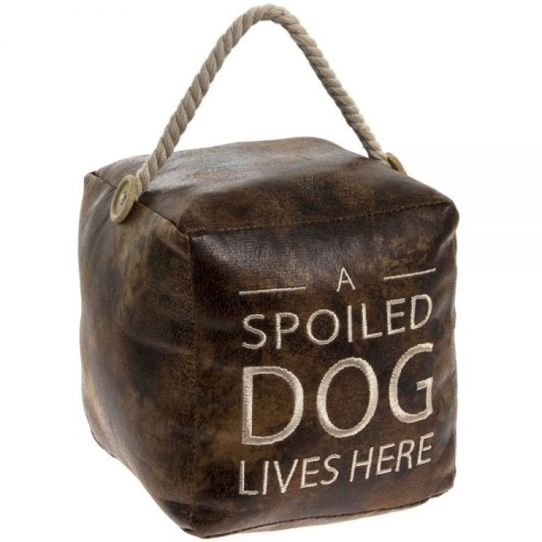 Faux Leather Dog Door Stop