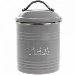 Home Sweet Home Grey Tea Canister