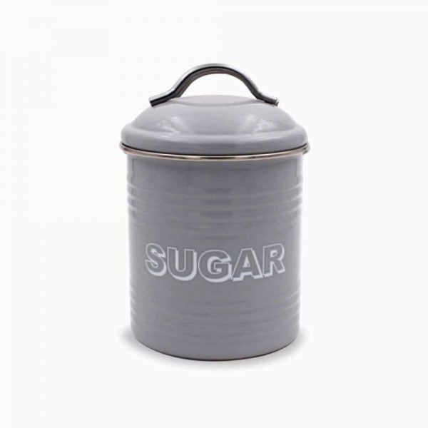 Home Sweet Home Grey Sugar Canister