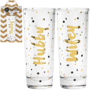Shot Glasses Hubby and Wife Set of 2