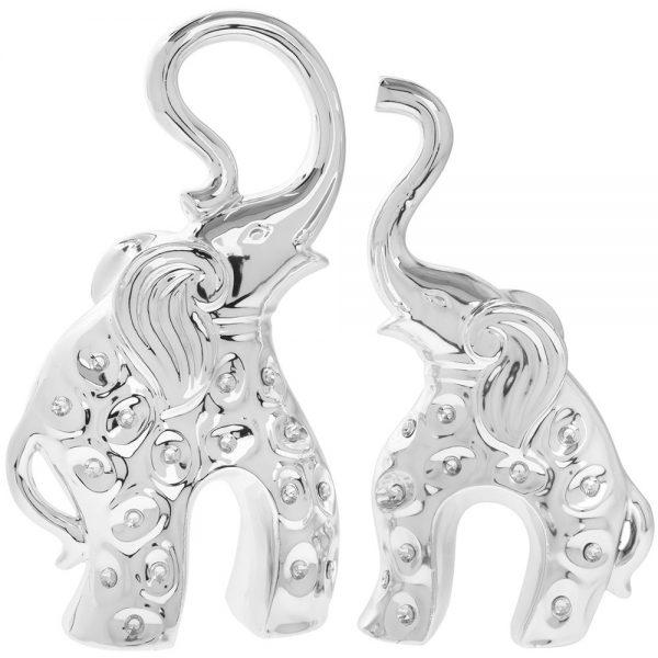 Silver Elephant Pair 26x15cm