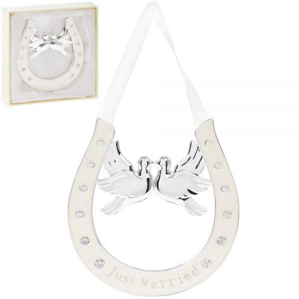 Silverplated Horseshoe Loving Doves
