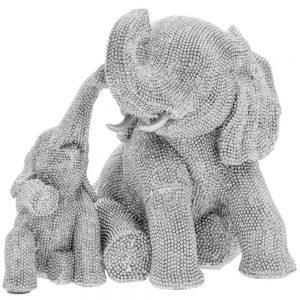 Silver Art Elephant & Calf 23x21x21cm