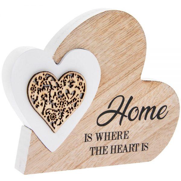 Sentiments Double Heart Home 15x12x2cm