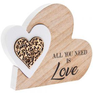 Sentiments Double Heart Love 15x12x2cm