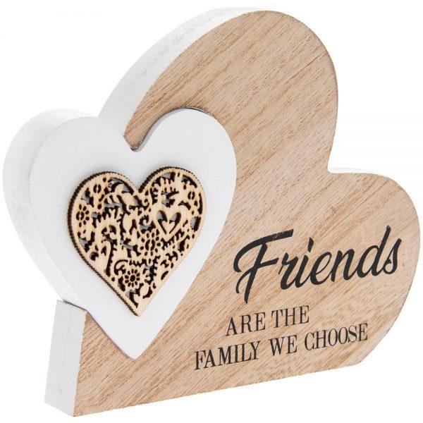 Double Heart Plaque Friends 15x12x2cm