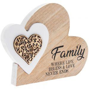 Double Heart Plaque Family 15x12x2cm