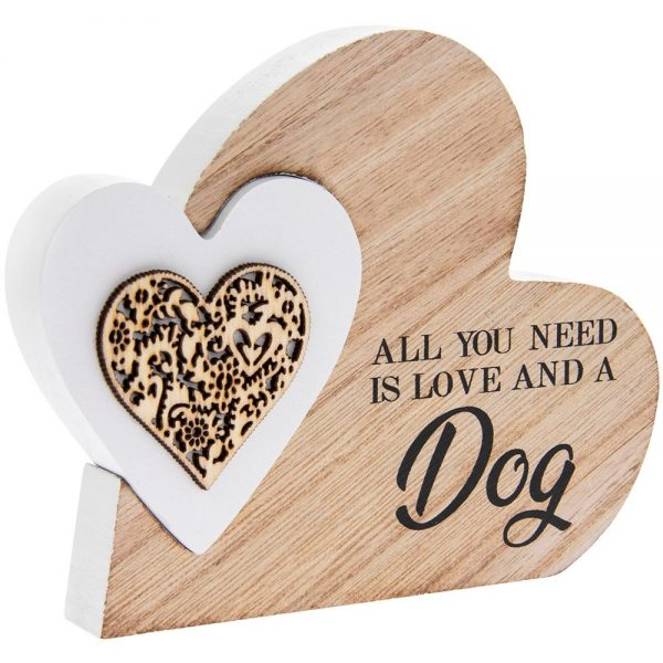 Double Heart Plaque Love and Dog 15x12x2cm