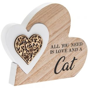 Double Heart Plaque Love and Cat 15x12x2cm