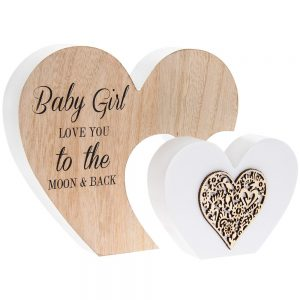 Sentiments Double Heart Babygirl 22x16x3cm