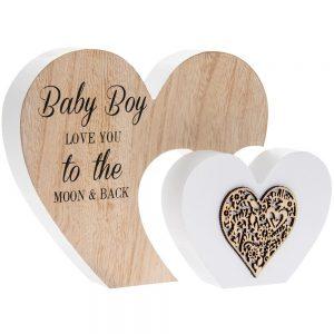 Sentiments Double Heart Babyboy 22x16x3cm