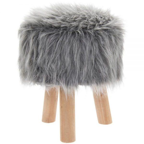 Grey Furry Stool Round