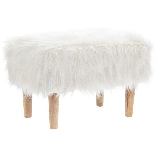 White Furry Stool Rectangle 25cm