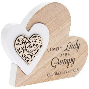 Double Heart Plaque Lovely Lady 15x12x2cm