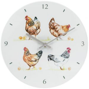 Chickens Glass Wall Clock