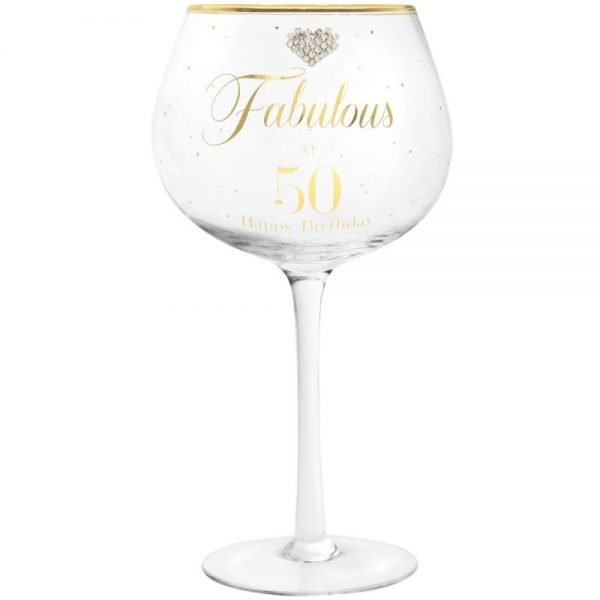 Mad Dots Gin Glass Happy 50th