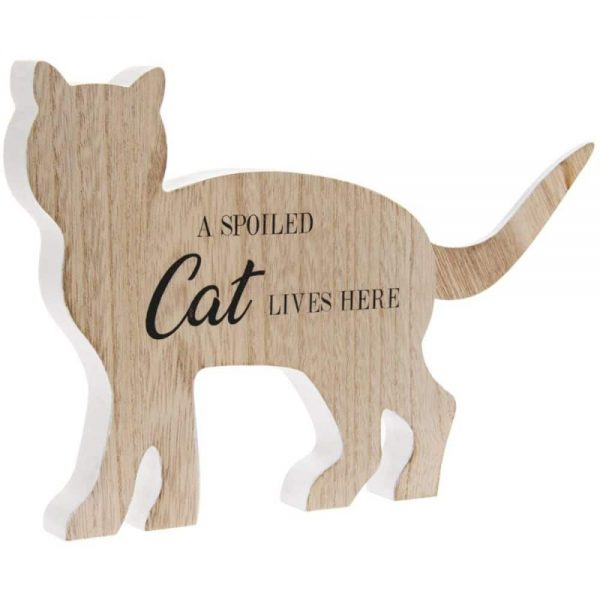 A Spoiled Cat Lives Here Plaque