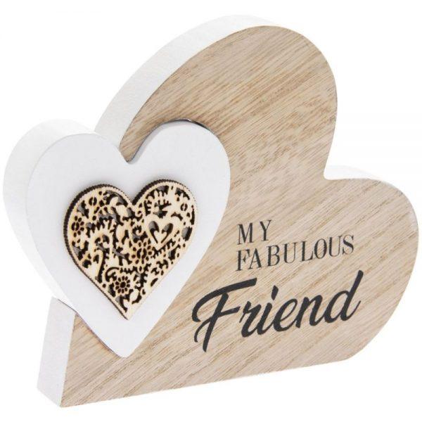 Double Heart Plaque Fab Friend 15x12x2cm