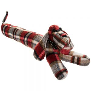 Red Check Dachshund Draught Excluder 79x12x16cm