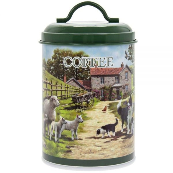 Collie and Sheep Coffee Canister