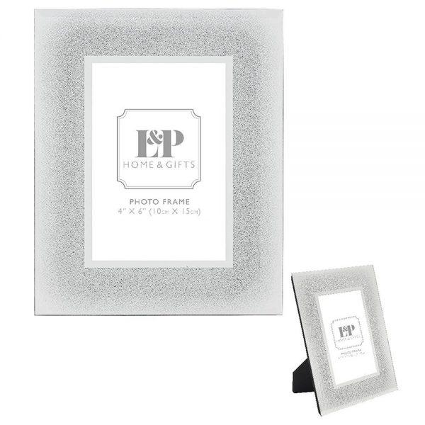 Silver Glitter Frame 4x6in 18x23cm