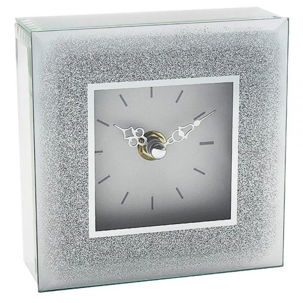 Silver Glitter Clock 12x12x5cm