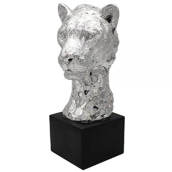 Silver Art Cheetah Bust