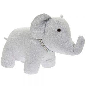 Silver Bling Elephant Doorstop - 44x20x23
