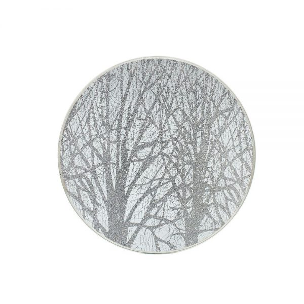 Silver Woodland Candle Plate 20cm