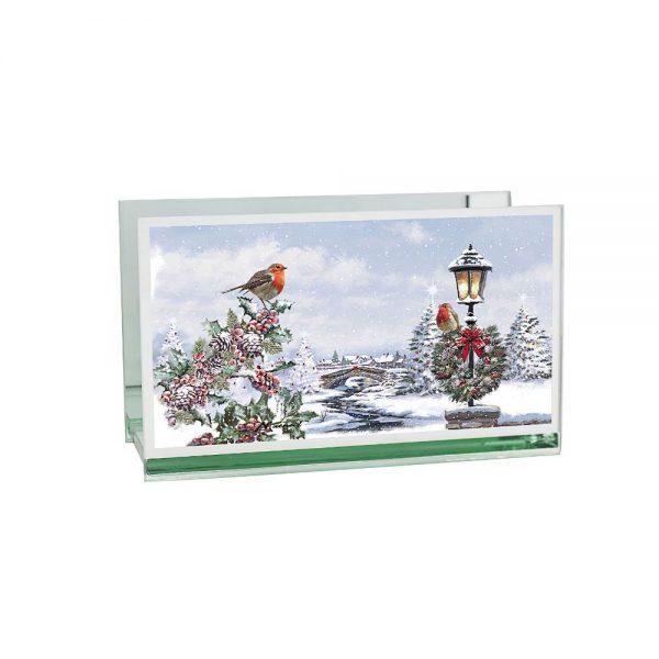 Christmas Robins Double Tealight Holder