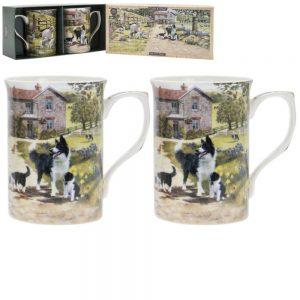 Collie and Sheep Mugs Set of 2