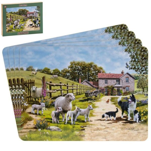 Collie and Sheep Placemats Set of 4