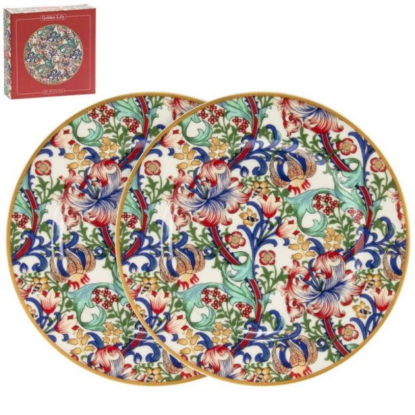 Golden Lily Plates Set of 2