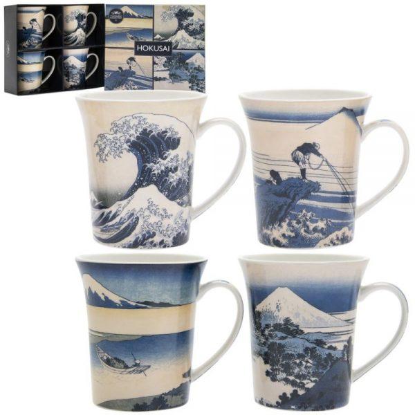 Fuji Wave Hokusai Mugs Set of 4