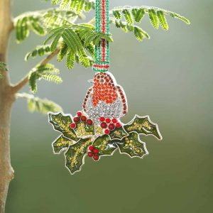 Newbridge Robin on Holly Hanging Decoration